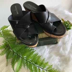 Donald J. Pliner Leather Slip On Wedge Sandals